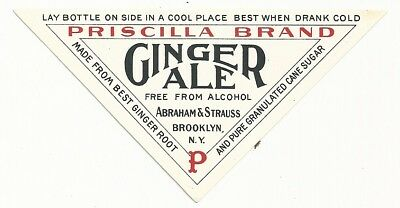 1890's Priscilla Brand Ginger Ale Label - Brooklyn, NY - Abraham & Strauss