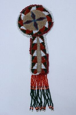 "Plains beaded belt bag - 3"" x 9"" early to mid 20th century"