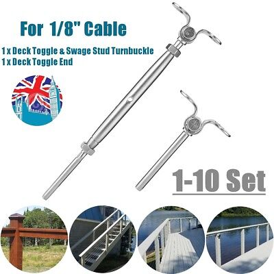 UK T316 Stainless Steel Tensioner Set for Cable Railing Deck Toggle 1/8'' Cable