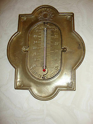 Wand Thermometer mit 2 Klapp Skalen , Messing