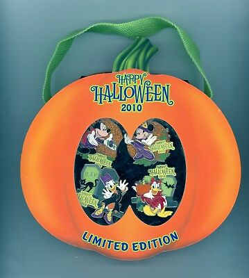 Disney Halloween Mickey Minnie Mouse Donald Daisy Duck Boxed Pumpkin LE Pin Set