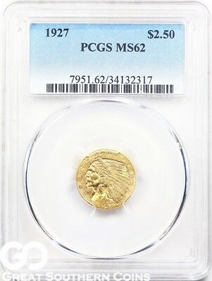 1927 PCGS Quarter Eagle, $2.5 Gold Indian PCGS MS 62 ** Very Nice, Free S/H!