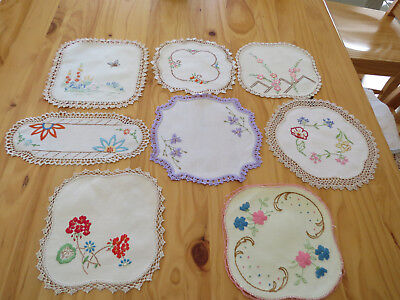 8 Vintage Embroidered Doilies - Includes Sandwich Tray Doily - see photos