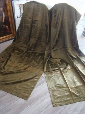 2 French antique   Curtains Green Bronze Satin And Cotton