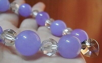 12mm Lavender Jade Beads & 10mm Swarovski Heart & 8mm Crystal Beads Bracelet