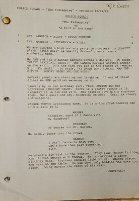 POLICE SQUAD 1981 Revised TV SCRIPT The Kidnapping or Bird In the Hand Nielsen