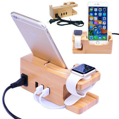 Apple Watch/iPhone 6s 7 8 X Bamboo Charging Dock Station Stand USB Ports Charger