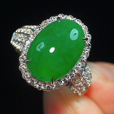 6.2CT 100% Natural 14K Gold Grade A Imperial Green Jadeite Diamond Ring CDZkT15