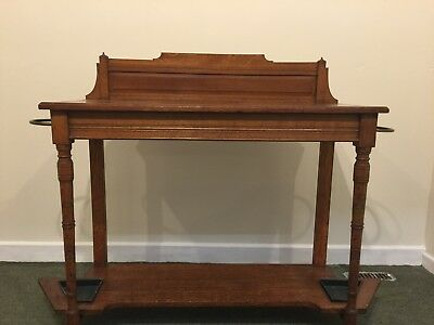 ANTIQUE / VINTAGE OAK HALL or side or telephone TABLE with umbrella/stick storag