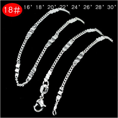 2 PC Chains/Necklace 16''-30''Flat Side  Sterling Silver PlatedFashion Jewelry