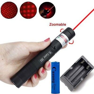 50Miles 650nm 303 Red Laser Pointer Lazer Pen Beam Light +2*18650+Dual Charger