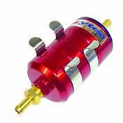 Sytec Bullet RED Anodised Billet Fuel Filter With 12mm Push On Fittings