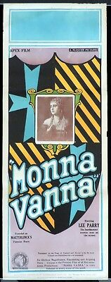 MONNA VANNA 1922 Vintage Long daybill Movie Poster Lee Parry SILENT CLASSIC