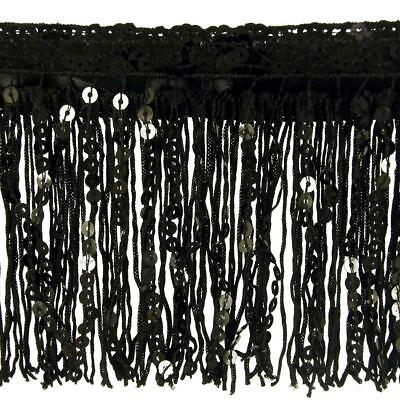 "New Black Sequin & Tassel Trim 11cm 4.5"" Luxury Fringe Fringing  1m / or Sample"
