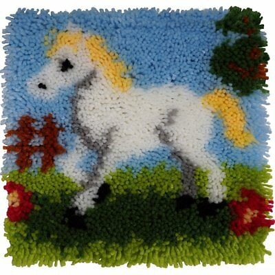 """Euro Craft Latch Hook Kit - Pretty Pony. Printed canvas, yarns and tool. 12x12"""""""