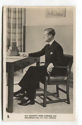 King Edward VIII broadcasting to the nation - old Tuck RP postcard No. 3812A