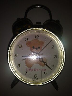 Vintage Precious Moments Teddy Bear Love Gold Alarm Clock Battery cover missing