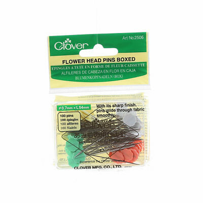 Flower Head Pin Size 32 - 2in 100ct 4 colors Clover #2506 Sewing Quilt Notion
