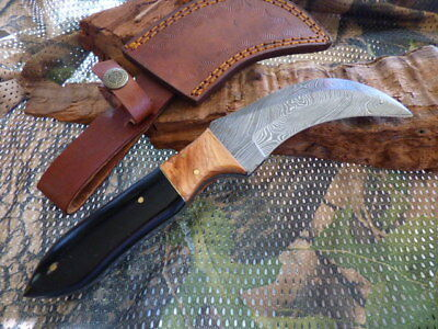 BIG Curved BLACK HORN & WOOD DAMASCUS FIXED BLADE KNIFE FILEWORK 23CM  HUNTING