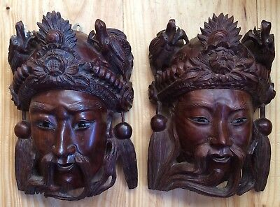 Pair of Antique Vintage Asian Chinese Hand Carved Wood Mask Man Head Dragon