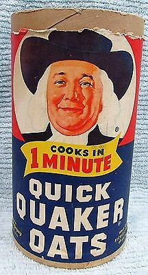 Old 1960's Quaker Oats Vintage Empty 5x10 Cardboard Cylinder Carton Box FREE S/H
