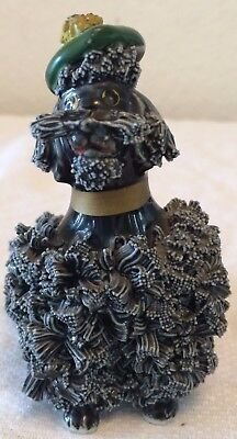 Vintage Black Spaghetti Poodle Dog Figurine Green Beret Tam Hat Gold Collar