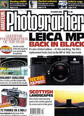 Amateur Photographer magazine with  Olympus half-frame article  29th March  2003