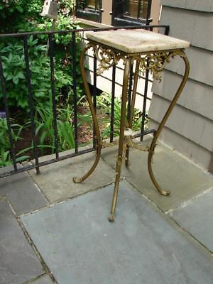 Antique Victorian Ornate Onyx Brass Bronze Plant Stand Planter Table