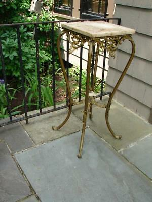 Antique Victorian Ornate Onyx Bronze  Brass Plant Stand Planter Table