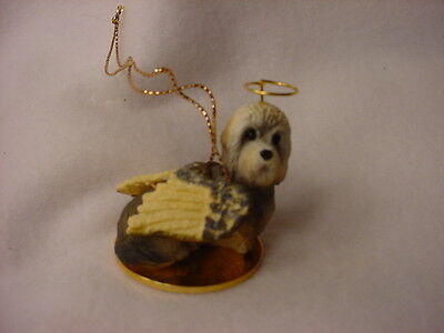 DANDIE DINMONT dog ANGEL Ornament HAND PAINTED resin FIGURINE Christmas puppy
