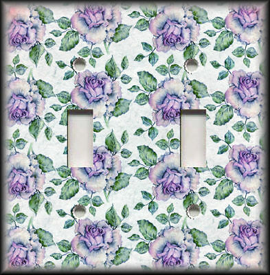 Metal Light Switch Plate Cover Shabby Chic Decor Vintage Aged Purple Roses Decor