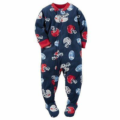 NWT ☀FOOTED  FLEECE☀ CARTERS Boys Pajamas  New  FOOTBALL  5  $30