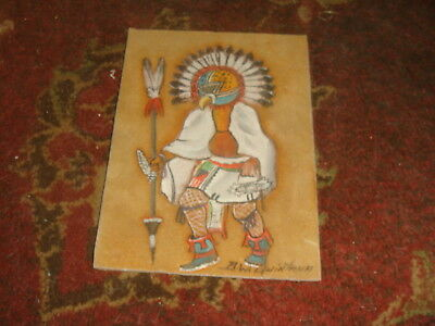 Small AHOLA KACHINA Signed Painting on Suede Leather 5x7 - FREE SHIP