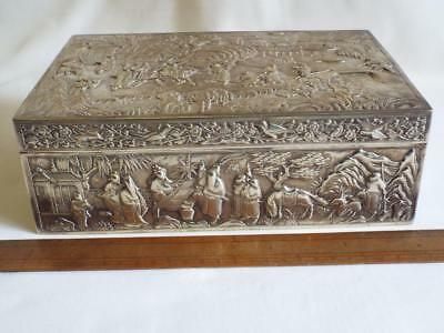 "Superb large antique 9.5"" Chinese solid silver repousee box,1405g."