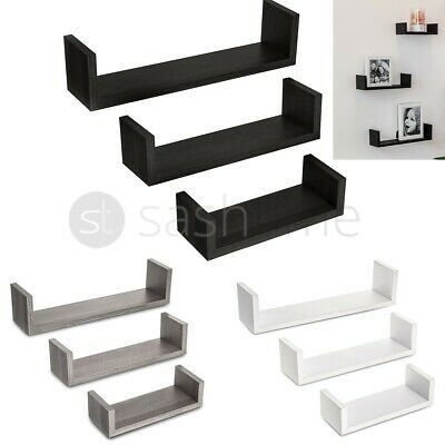 Set Of 3 U Shape Floating Wall Shelves Storage Display Shelf White Black Oak