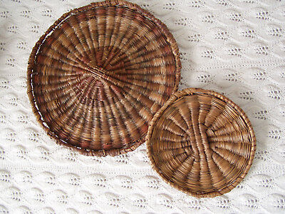 """vintage Hopi wicker trays third mesa baskets plaques 9"""" and 5.5"""""""