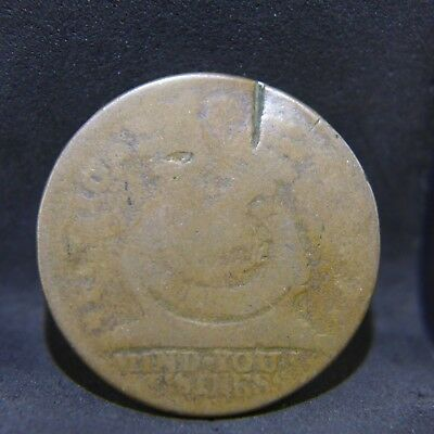 1787 Fugio Cent United States Colonial Copper Coin - First US Cent!- AG Damaged