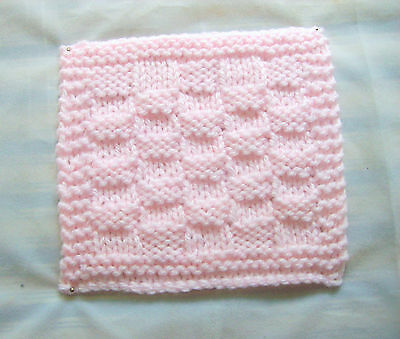 Hand knit Miniature Dollhouse Pink Doll Baby Blanket