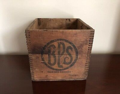 Vintage Small BPS PAINTS Wooden Box Finger Jointed Advertising Nice
