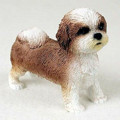 SHIH TZU Dog FIGURINE COLLECTIBLE Resin Statue TAN BROWN & WHITE Puppy Sport Cut