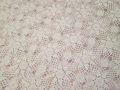 Vintage Crochet Bed Cover Coverlet or Tablecloth 57 x 72  SCALLOPED EDGE FLORA