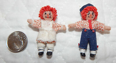 Dollhouse Miniature Raggedy Ann & Andy dolls 1:12