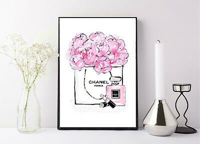 quote life poster picture print chanel pink floral design Paris designer