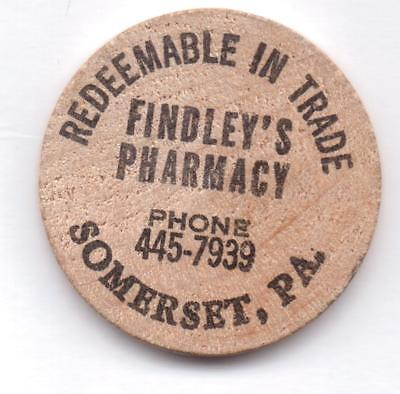 Findley's Pharmacy-Somerset,pa-Wooden Nickel-Black-One 1/2 Inches Width-Vintage