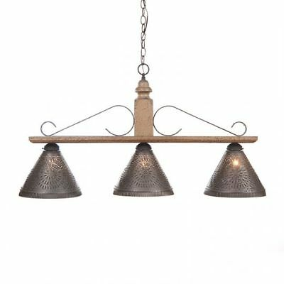 Country Primitive Farmhouse LARGE WELLINGTON HANGING ISLAND LIGHT in PEARWOOD