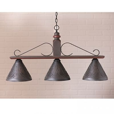 Country Primitive Farmhouse LARGE WELLINGTON HANGING ISLAND LIGHT in ESPRESSO