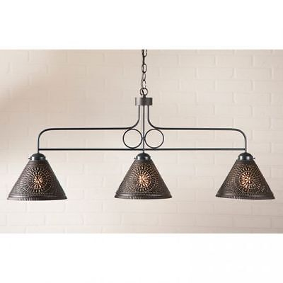 Country Primitive Farmhouse LARGE FRANKLIN HANGING LIGHT in KETTLE BLACK