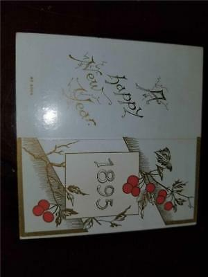 Antique 1895 Happy New Year Paper Calendar Diefendorf Bookseller Fort Plain NY