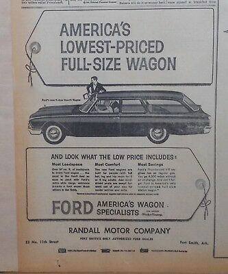 1960 newspaper ad for Ford - 2-dr. Ranch Wagon, Most Loadspace, Comfort, Savings