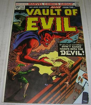 VAULT OF EVIL #15 (Marvel Comics 1974) DON'T SHAKE HANDS WITH THE DEVIL (FN/VF)